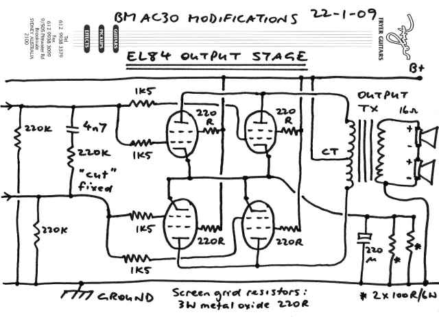 BM AC30 EL84 Output stage schematic