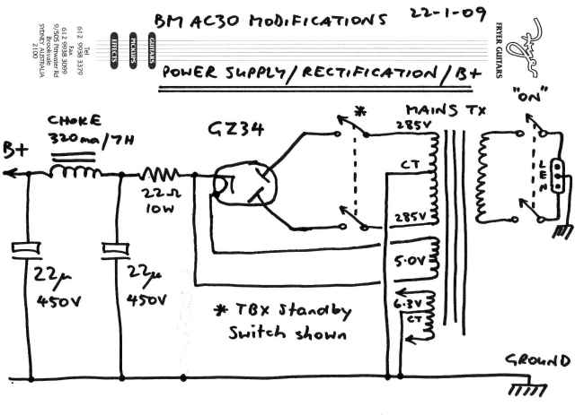 BM AC30 power rectification schematic