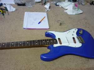 16th April 2016 Strat humcancelling system 8a trials with test guitar