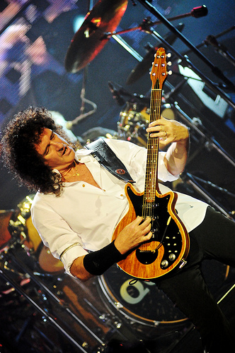 Brian May and George Burns onstage at Rio with 'Queen + Paul Rodgers' 26th Oct 2008