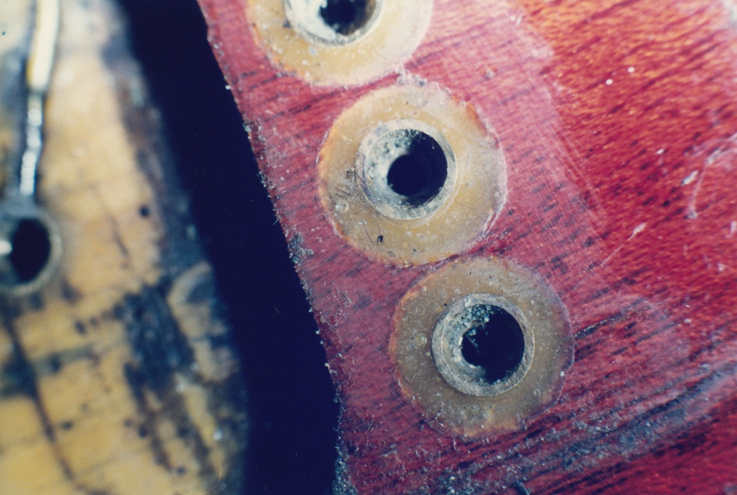 Bridge mounting brass inserts were glued in place with Araldite epoxy resin
