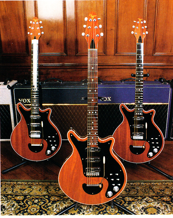 Greg Fryer Red Special guitars from left 'Paul', 'George Burns' and 'John' from Guitarist UK July 1998