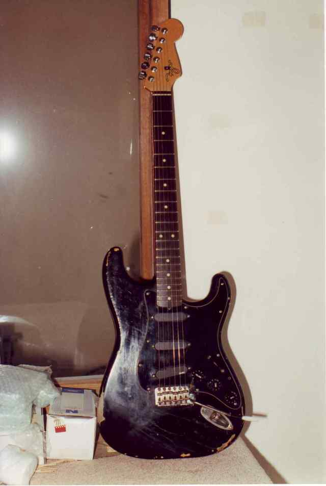 Ian Moss early 70s black body with replacement Fryer neck built in 1995. Body was later changed to swamp ash spearmint green