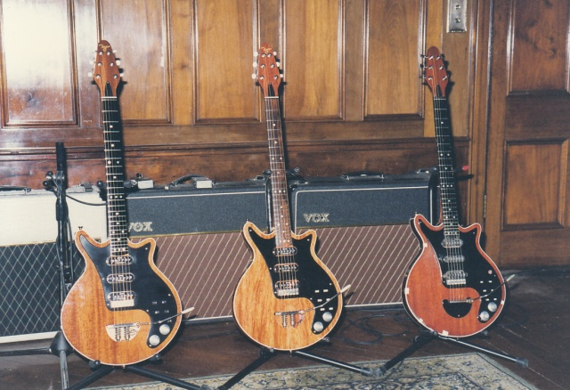 Red Special guitars at Allerton Hill Feb 1998 from left: John, George Burns and 'the' Red Special