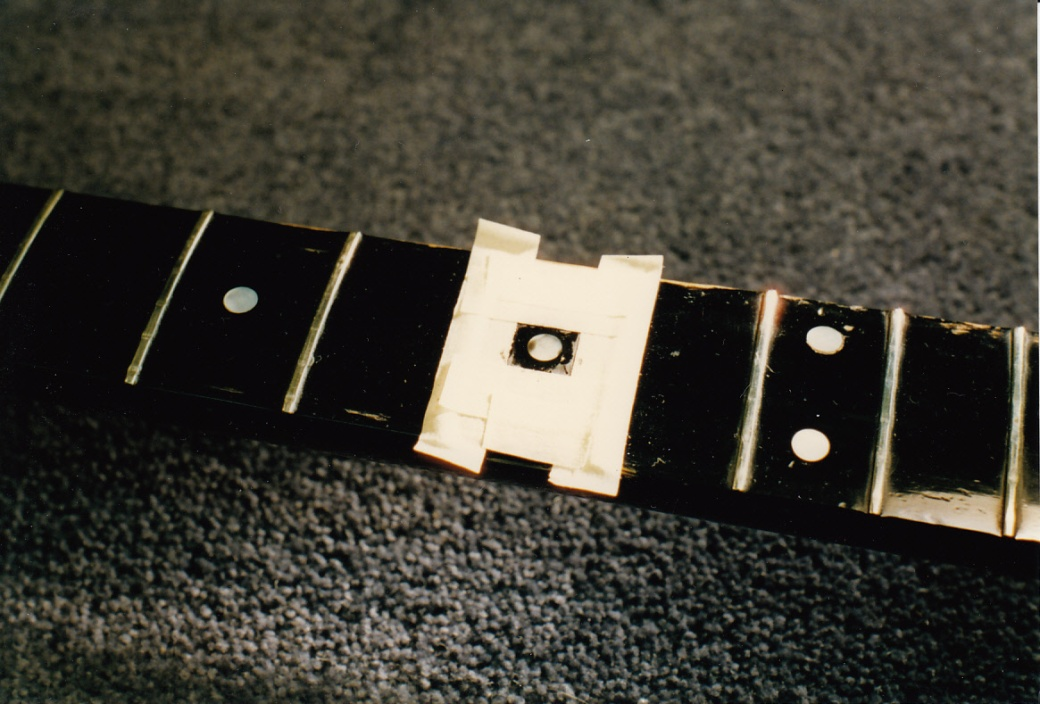 Red Special new 5th fret mother of pearl dot glued in