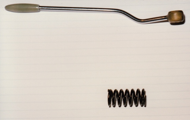 Tremolo arm and spring: the spring came from a 1928 Panther motorcycle inner valve spring