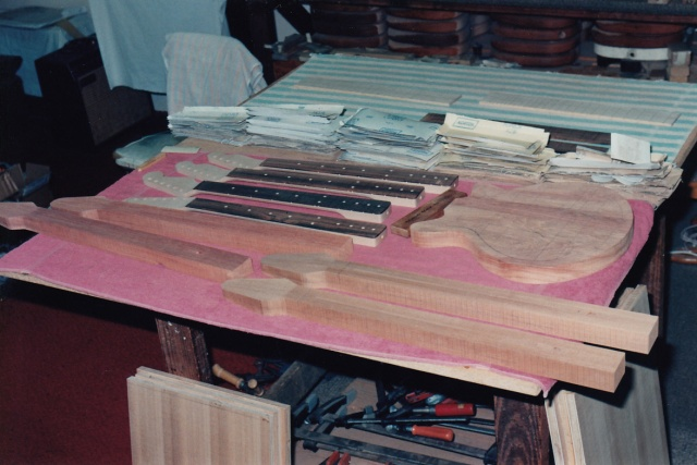 4 neck blanks prepared and George Burns' body