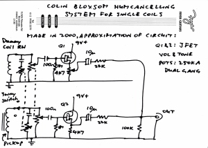 Colin Bloxsom JFet humcancelling system circuit approximation