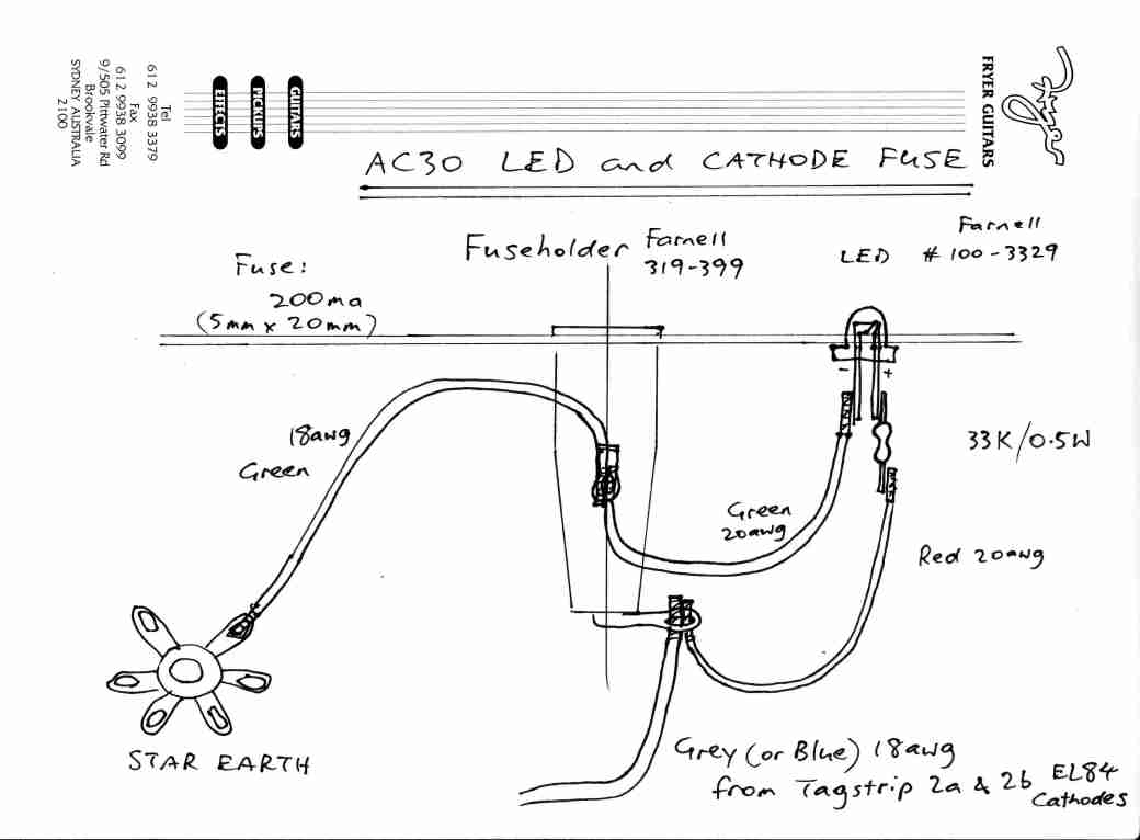 Fryer AC30 EL84 cathode fusing and LED