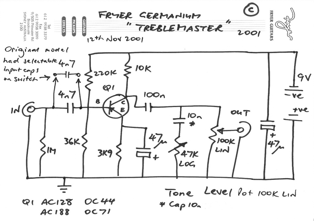 Fryer 'Germanium Treble Master' designed 12th Nov 2001 for Dave Petersen's build your own pedal article for Guitar Magazine London.