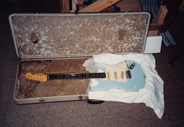 My custom made daphne blue Strat which I took along to show Phil and David